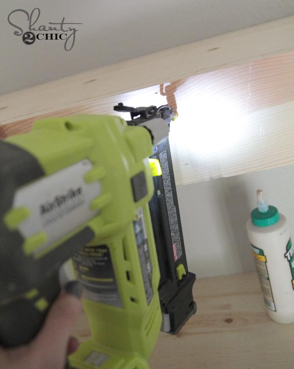 Nail board to shelf brace