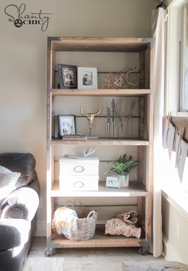 DIY Industrial Cart Bookcase  Shanty 2 Chic