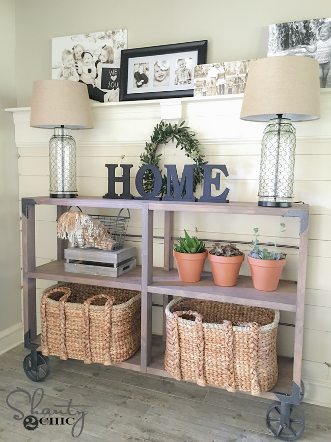 DIY Cart Console Table