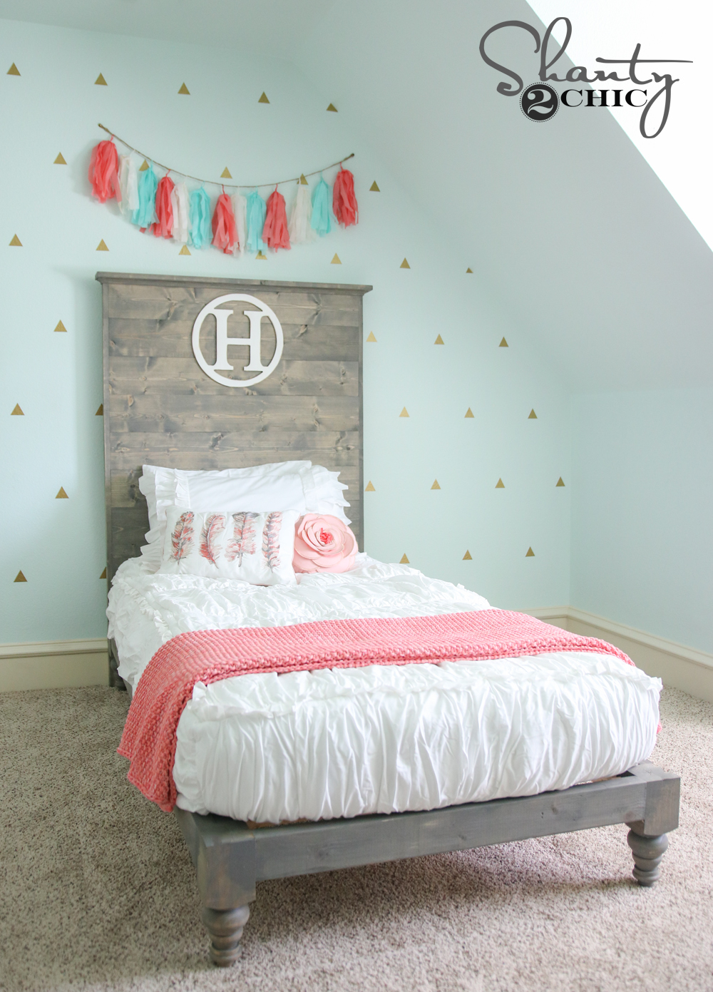 Diy Twin Platform Bed And Headboard Shanty 2 Chic