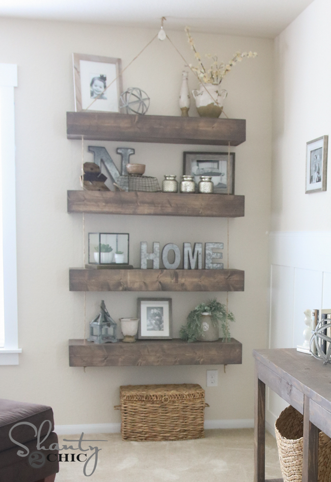 DIY Floating Shelves with Pulley and Rope