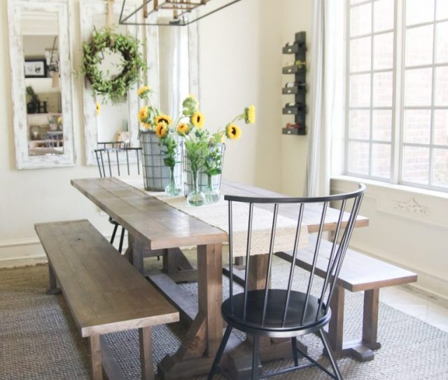 Plans For This Diy Farmhouse Dining Bench That I Built For Under  In Lumber Per Bench Yep You Read That Right Check Out How Cute They Turned Out