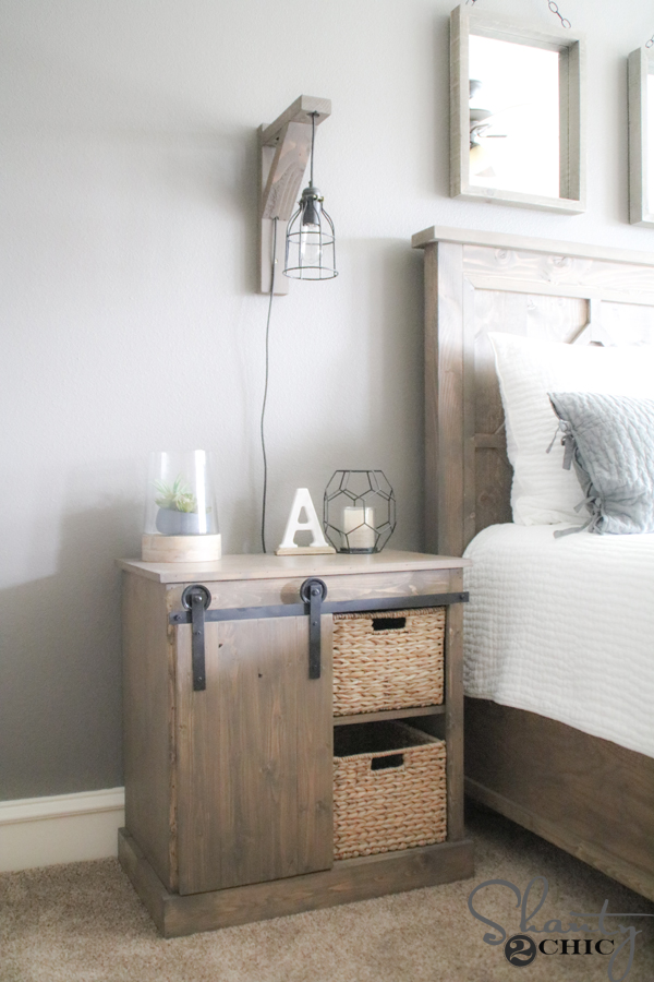 Sliding Barn Door Nightstand