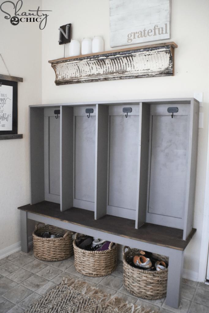 Diy Wall Locker With Built In Bench Shanty2chic