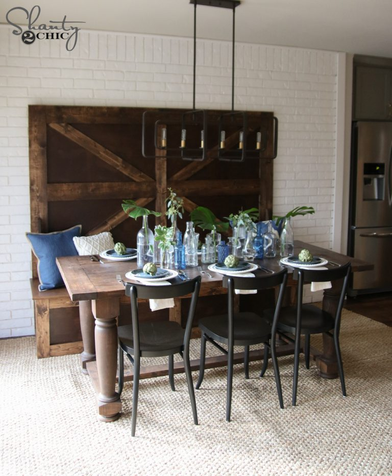 Surprising Diy Turned Leg Farmhouse Dining Table Shanty 2 Chic Home Remodeling Inspirations Propsscottssportslandcom