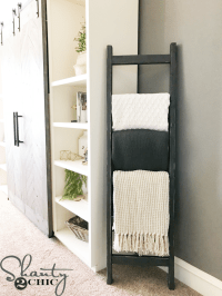 DIY $7 Rustic Blanket Ladder