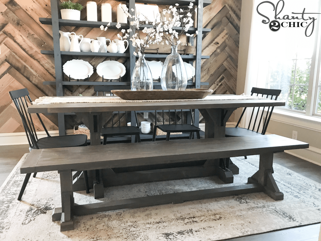 dining room bench table | DIY Industrial Corbel Dining Bench For $40 - Shanty 2 Chic