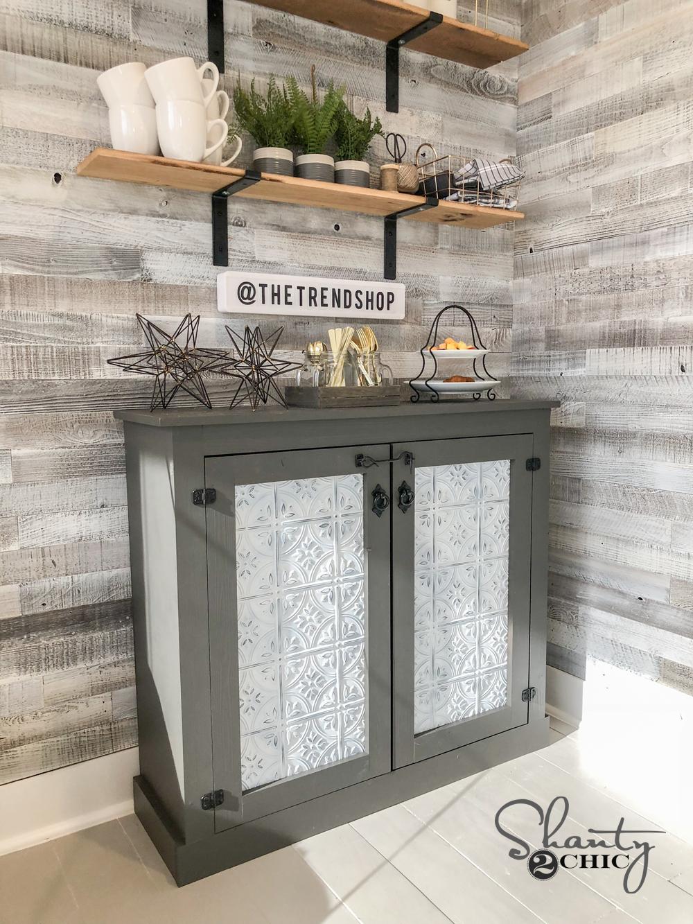 modern kitchen cabinet hardware childrens toy diy tin door - easy console shanty 2 chic