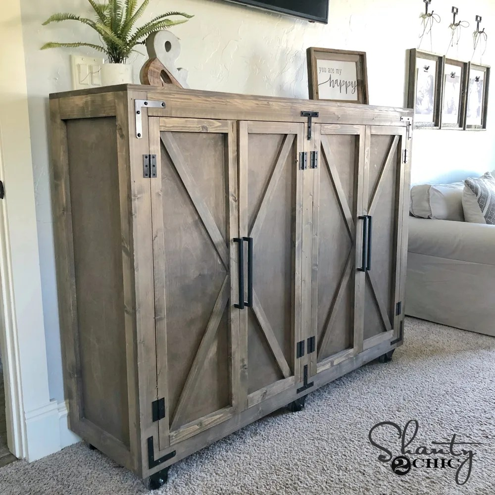 Diy Farmhouse X Storage Cabinet, How To Build Storage Cabinets For Living Room