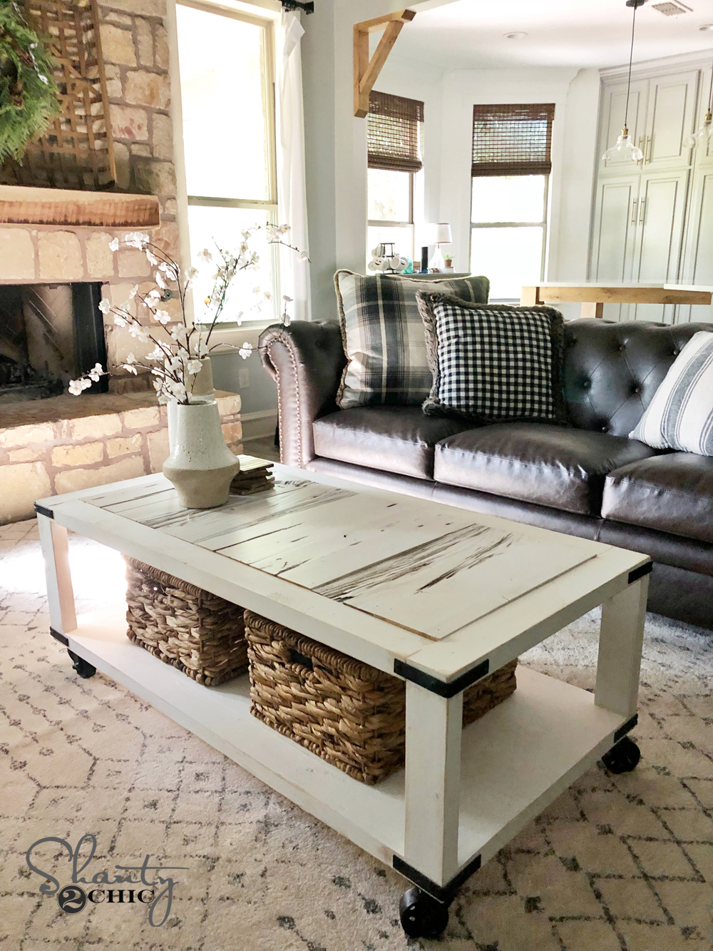 DIY Barn Wood Cart Coffee Table