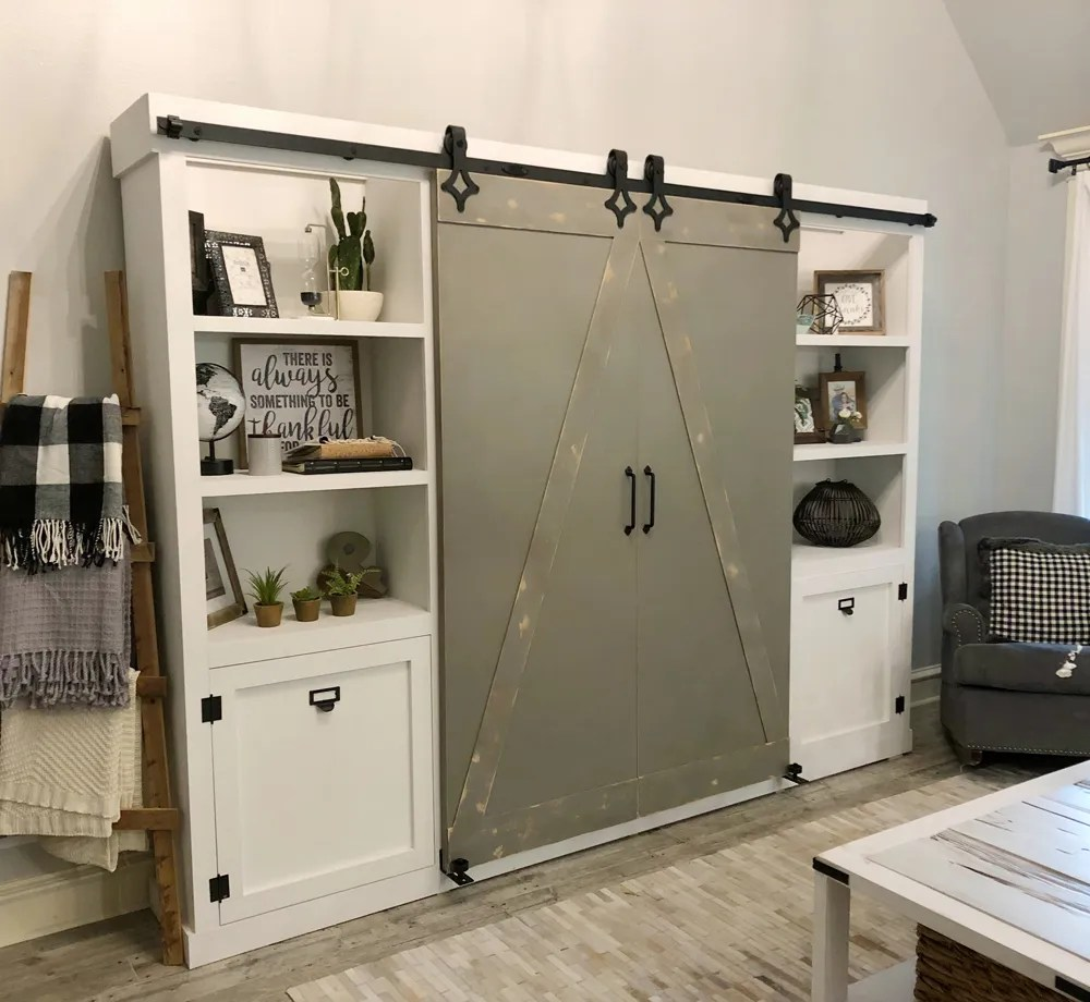 DIY Barn Door Media Cabinet Free Plan