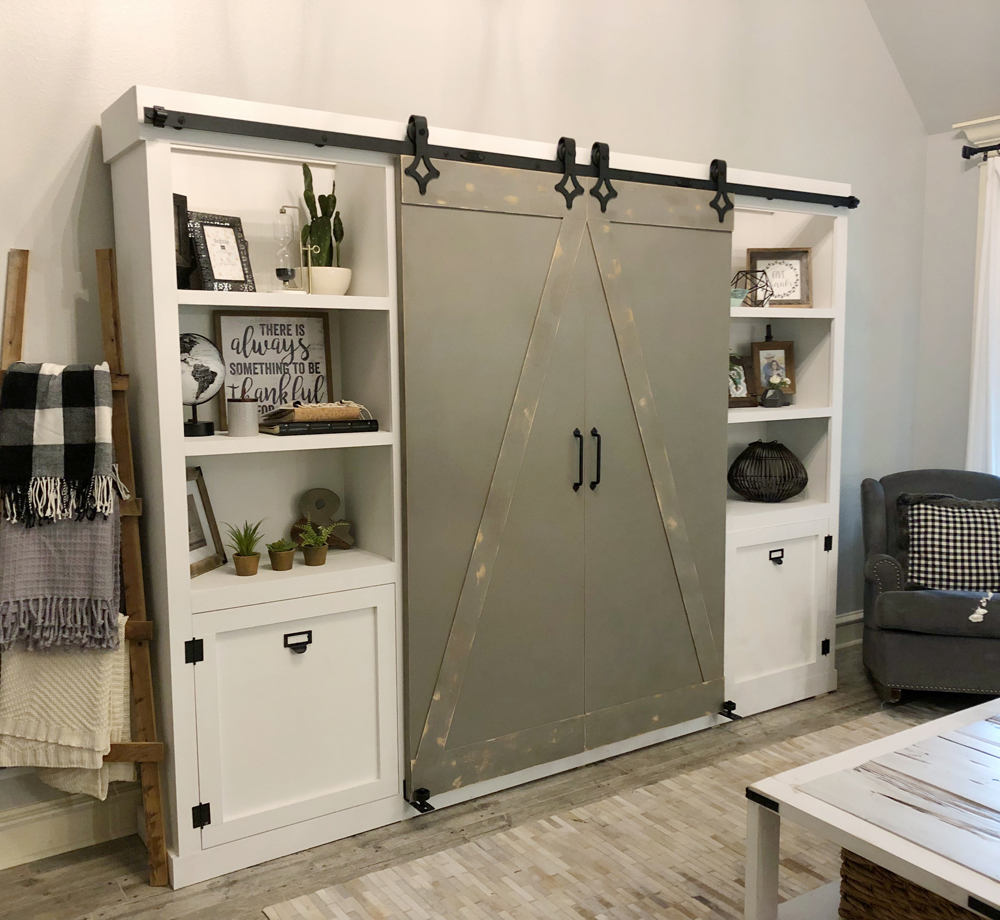 DIY Barn Door Media Cabinet Free Plan