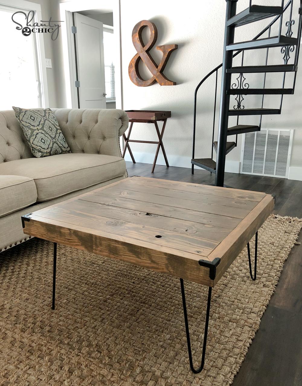DIY $50 Square Hairpin Leg Coffee Table - Shanty 2 Chic