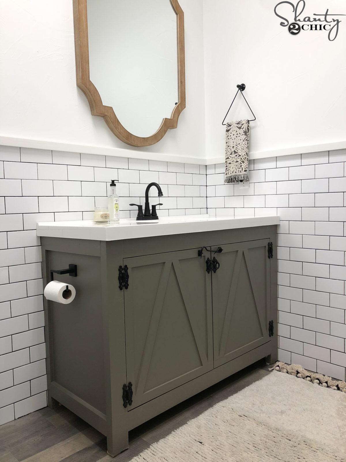 DIY Modern Farmhouse Bathroom Vanity - Shanty 5 Chic
