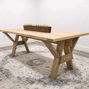 DIY Sawhorse Farmhouse Dining Table