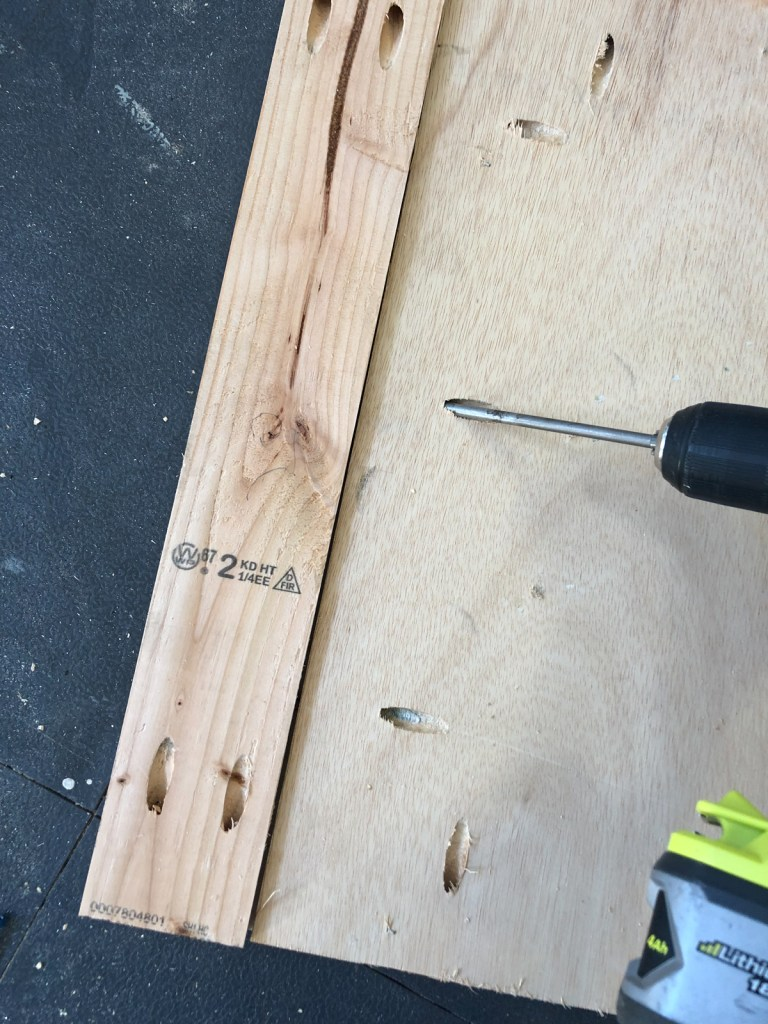 This image has an empty alt attribute; its file name is attach-plywood-to-leg-768x1024.jpg