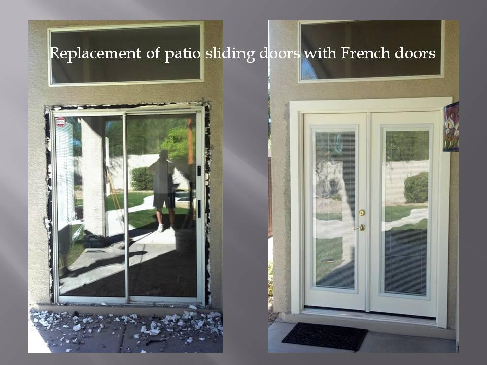 Replacing patio doors with French doors