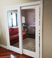 Interior sliding French door and one fixed panel.