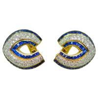 Diamond & Sapphire Clip-On Earrings, By Tiffany & Co ...