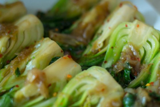 Baby Bok Choy with Caramelize Onions