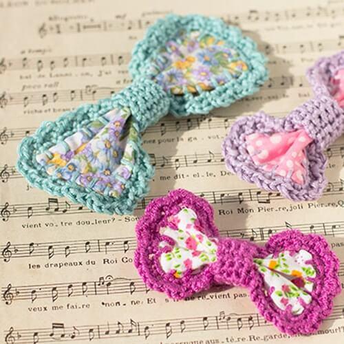 Crochet-edged Bow Barrettes