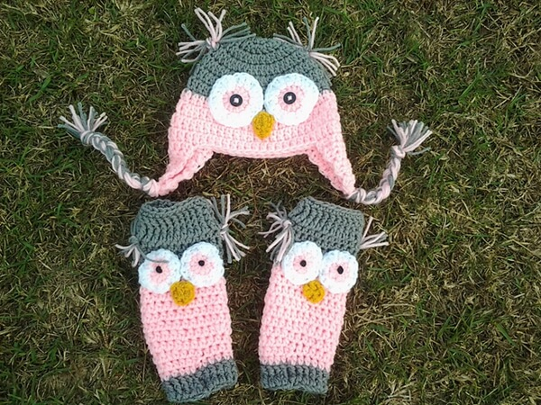 Owl Baby Legs and Hat Set