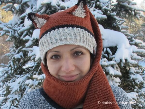 Fox Hat and Scarf Combo