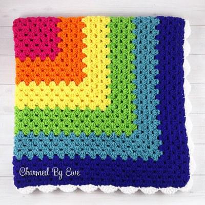 Rainbow Granny Square Throw