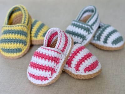 Stripy Espadrille Baby Shoes