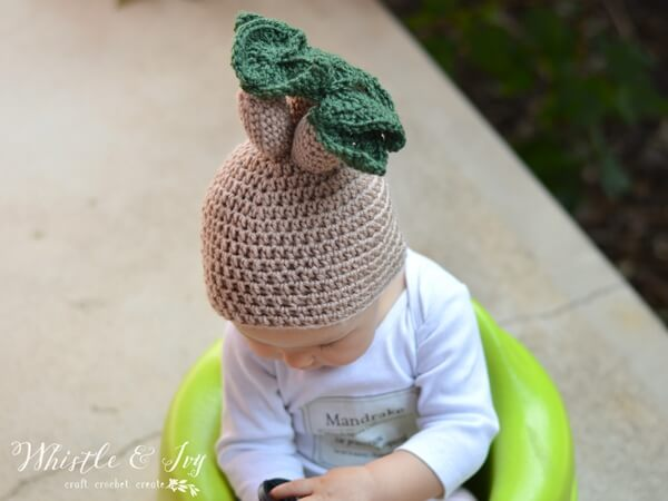 Crochet Mandrake Baby Hat
