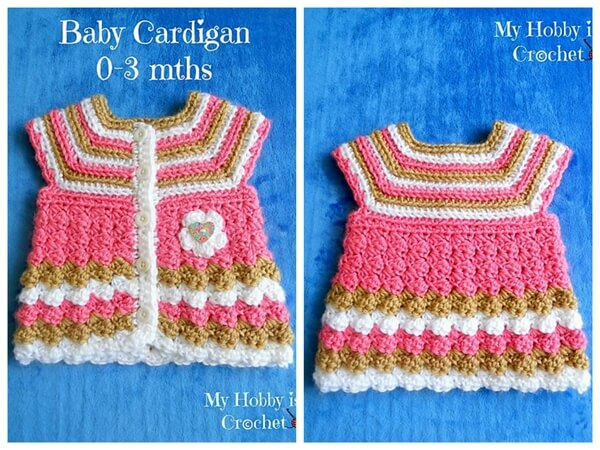 """Baby Cardigan """"Stripes and Bubbles"""""""
