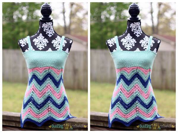 Women's Crochet Chevron Tank Top