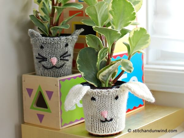 Knit Animal Pot Cozies