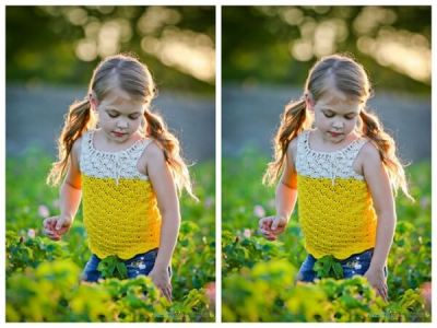 Girl's Yellow Cotton Crochet Shirt