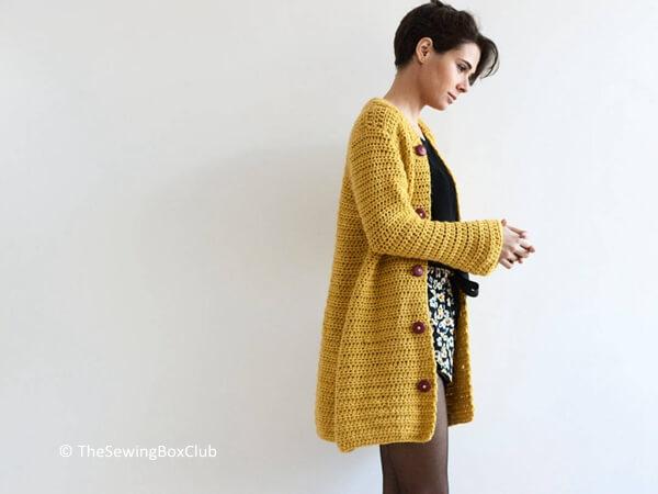 Asymmetric crochet pattern of a kimono jacket