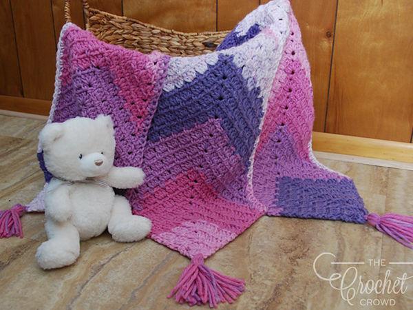 Triple Mitered Modern Granny MG Baby Blanket