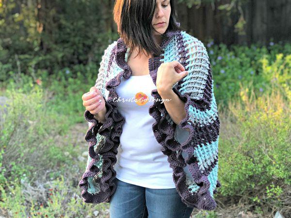 Strisce Crochet Ruffle Edge Wrap Pattern