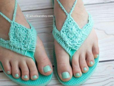 Crochet Flip Flops Upcycle