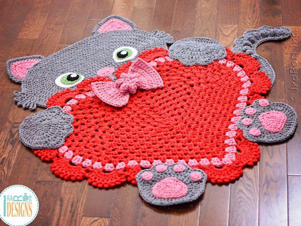 Kitty Cat Heart Rug