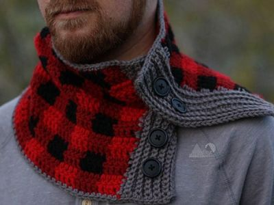 Buttoned Plaid Cowl