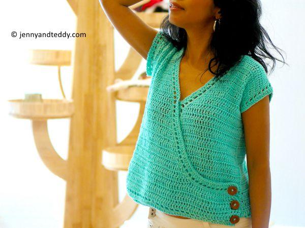 Crochet easy cross front top FREE pattern
