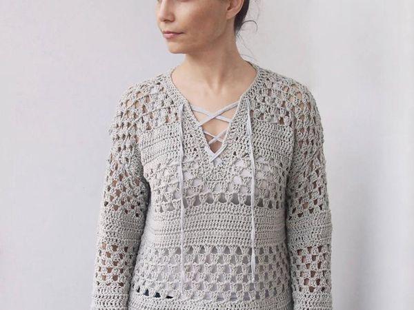 crochet Granny Stripes Sweater free pattern
