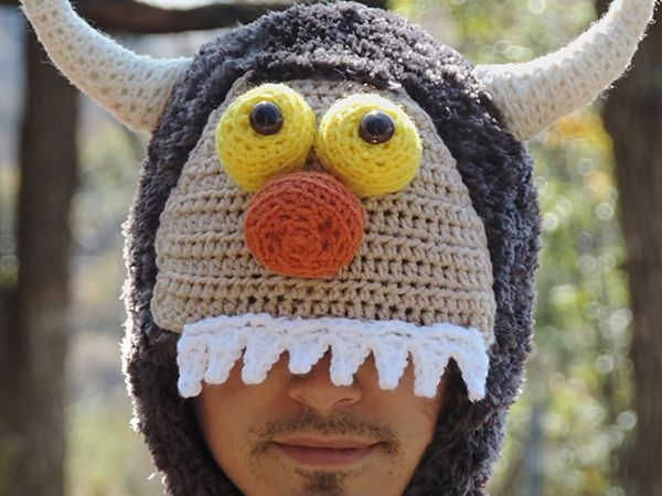 crochet Adult Sized Monster Hats free pattern