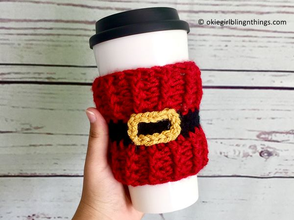 crochet Santa Belt Cup Cozy free pattern