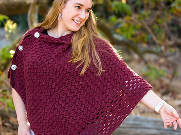 crochet Textured Fall Poncho free pattern