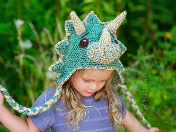 crochet The Triceratops Dinosaur Hat easy pattern