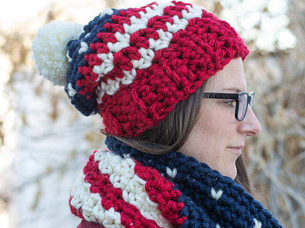 crochet Americana Hat and Cowl free pattern