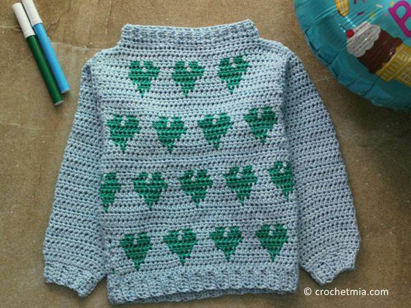 crochet Little Hearts Pullover free pattern