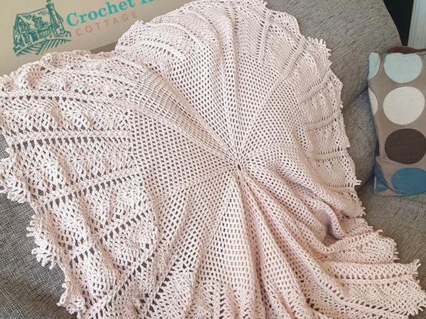 crochet Vintage Waterlily Circular Baby Blanket easy pattern