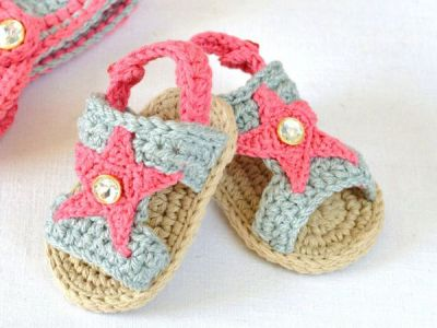 crochet Baby Sandals with Stars easy pattern
